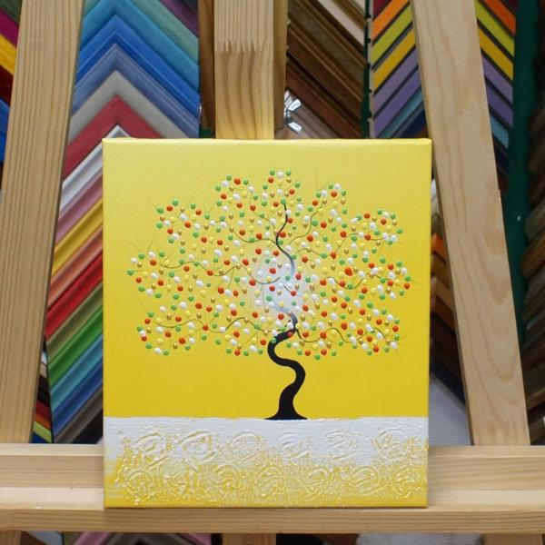 Картина галер натяжка Дерево на желтом 22х25см -142