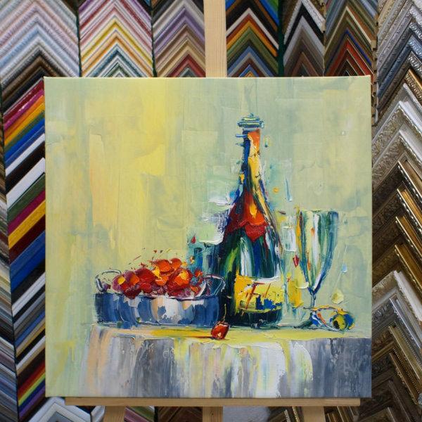 Картина галер натяжка Натюрморт с шампанским 60х60см -111