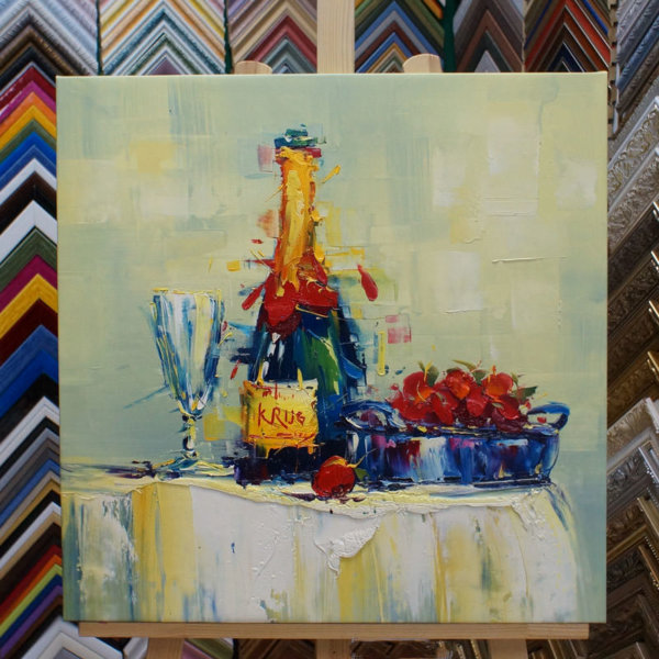 Картина галер натяжка Натюрморт с шампанским 60х60см – 112
