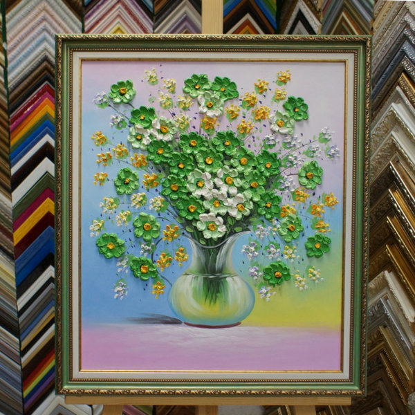 Картина в раме Объем букет цветов в вазе 32х42см -133