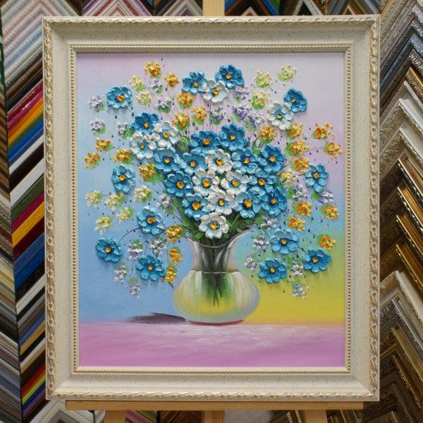 Картина в раме Объем букет цветов в вазе 32х42см -136