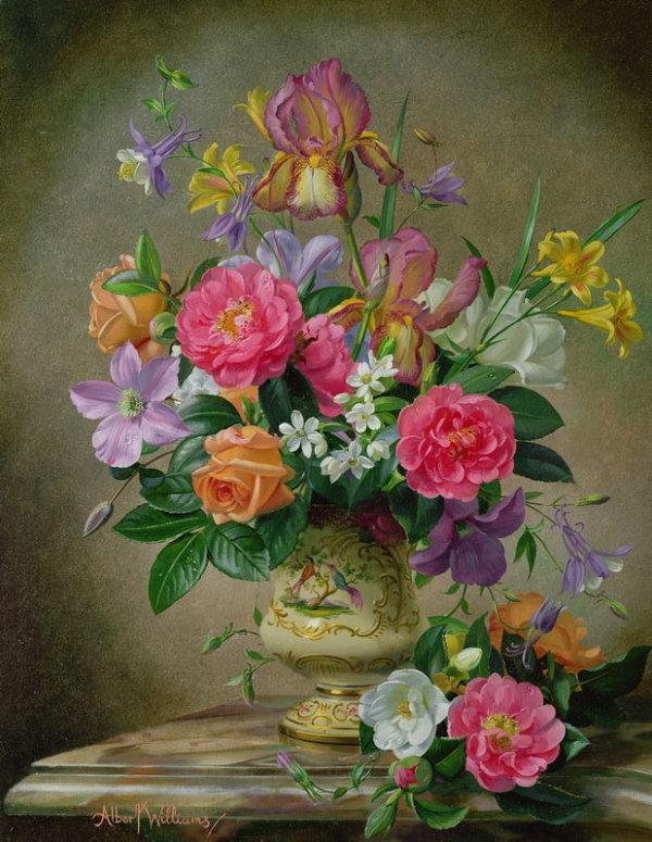 Пионы и ирисы в керамической вазе - Альберт Вильямс