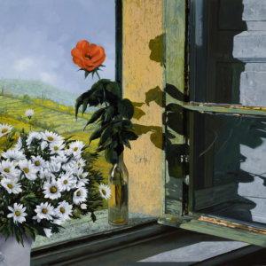 Роза и ромашки на окне - Гвидо Борелли