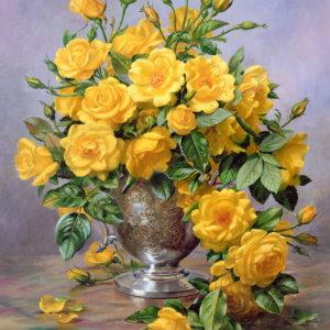 Яркая улыбка - розы в серебряной вазе - Альберт Вильямс