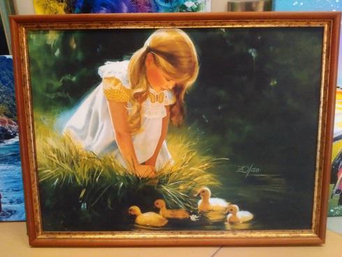 Печ/ х «Девочка с утятами » в раме - 44,3х60,5 см