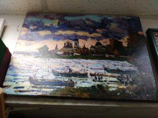 Печ/х «Пейзаж с лодками» галерейная натяжка с покрытием фактурным гелем 37х50 см – Щ208