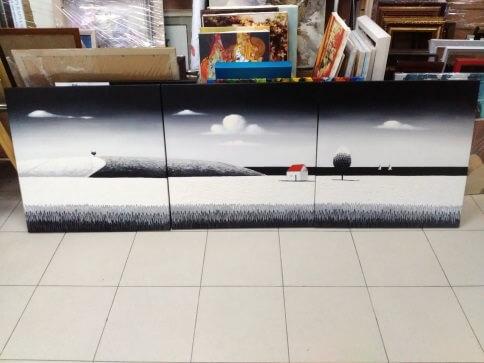Картина модульная  «Домик у моря»  ч/б  60х180 см – Щ209