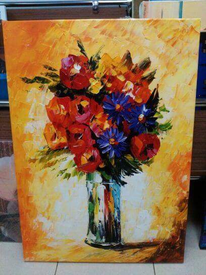 Картина  «Букет в стеклянной вазе»  70х50 см – Щ212