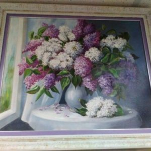 Картина «Букет сирени в вазе» в раме – Щ213