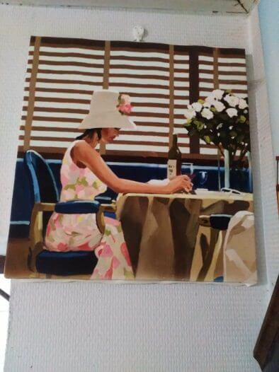 Печ/х Д. Веттриано «Девушка в кафе» обычная натяжка 32х30 см -Щ218