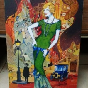 Печ/ х Хелен Лам «Девушка в зеленом платье» обычная натяжка 44х30 см – Щ226