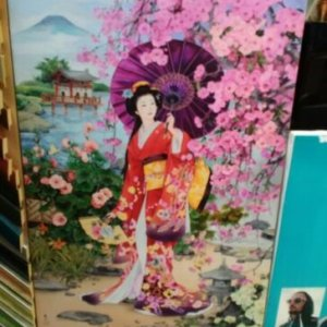 Печ/х «Китаянка с зонтом» галерейная натяжка 59х40 см - Щ227
