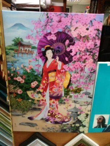 Печ/х «Китаянка с зонтом» галерейная натяжка 59х40 см – Щ227