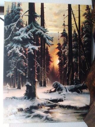 Печ/ х Ю. Клевер «Зимний закат в еловом лесу» галерейная натяжка 40х29,6 см – Щ231