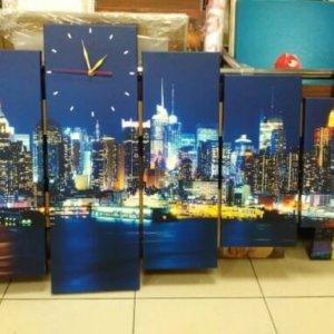 Печ/х модульная картина (часы) «Ночной город Нью-Йорк» 60х94,5 см – Щ235
