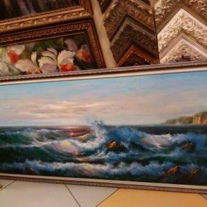 Картина «Морской прибой» в раме 152 75х185 см – Щ249