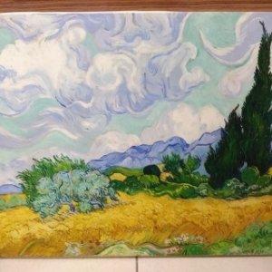 Печ/ х Ван Гог «Пшеничное поле с кипарисами» обычная натяжка 39,7х50,2 см – Щ252