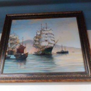 Картина «Корабли» в раме 52х63 см