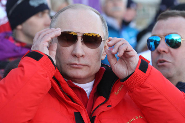 Russian President Vladimir Putin Watches Men's 4×10 K Cross-Country At the 2014 Winter Olympics,